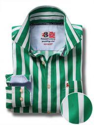 Sevilla Green Cotton Casual Striped Shirt
