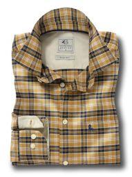 Wanaka Mustard Cotton Casual Checks Shirt