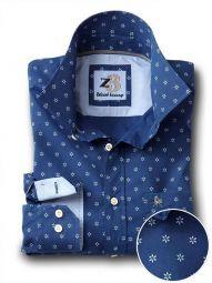 Silva Navy Cotton Casual Printed Shirt