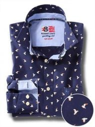 Egret Navy Cotton Casual Printed Shirt