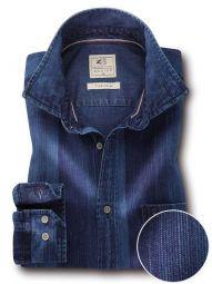 Eastwood Indigo Navy Cotton Casual Striped Shirt