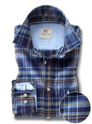 Django Indigo Navy Cotton Casual Checks Shirt