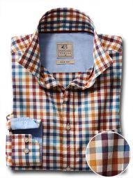 Carver Ochre Cotton Casual Checks Shirt