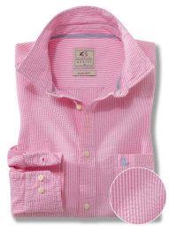 Liverpool Pink Cotton Casual Striped Seersucker Shirt