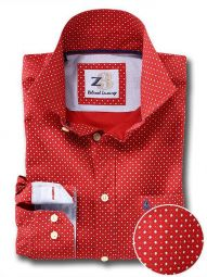 Pryor Red Cotton Casual Printed Shirt