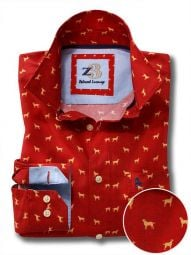Labs Red Cotton Casual Printed Shirt