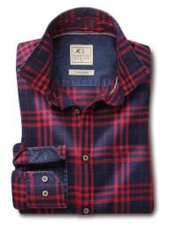 Heston Indigo Red Cotton Casual Checks Shirt