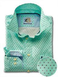 Maho Sea Green Cotton Casual Printed Shirt