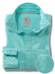 Chelsea Sea Green Cotton Casual Solid Seersucker Shirt