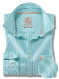 Liverpool Sea Green Cotton Casual Striped Seersucker Shirt