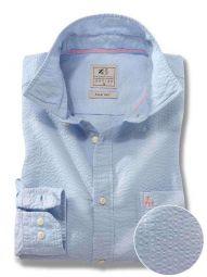 Chelsea Sky Cotton Casual Solid Seersucker Shirt