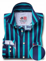 Cosmo Teal Cotton Casual Striped Shirt