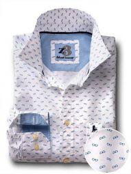 Shades White Cotton Casual Printed Shirt