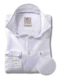 Chelsea White Cotton Casual Solid Seersucker Shirt