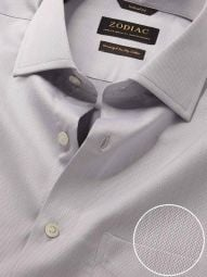 Antonello Light Grey Cotton Tailored Fit Formal Solid Shirt