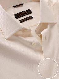 Antonello Cream Cotton Tailored Fit Formal Solid Shirt