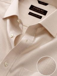 Antonello Sand Cotton Classic Fit Formal Solid Shirt