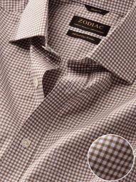 Barboni Beige Cotton Classic Fit Formal Checks Shirt