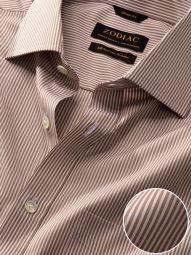 Barboni Beige Cotton Classic Fit Formal Striped Shirt