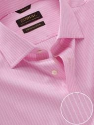 Barboni Pink Cotton Classic Fit Formal Striped Shirt