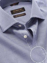 Barboni Navy Cotton Classic Fit Formal Checks Shirt