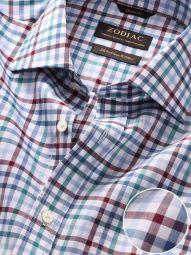 Barboni Maroon Cotton Classic Fit Formal Checks Shirt