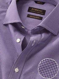 Barboni Purple Cotton Classic Fit Formal Checks Shirt