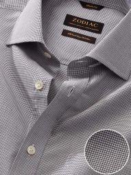 Barboni Light Grey Cotton Classic Fit Formal Checks Shirt