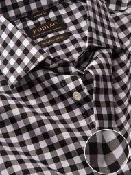 Barboni Black & White Cotton Tailored Fit Formal Checks Shirt