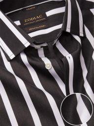 Barboni Black & White Cotton Tailored Fit Formal Striped Shirt