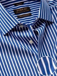 Barboni Blue Cotton Tailored Fit Formal Striped Shirt