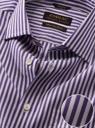 Barboni Purple Cotton Tailored Fit Formal Striped Shirt