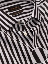 Barboni Black & White Cotton Classic Fit Formal Striped Shirt
