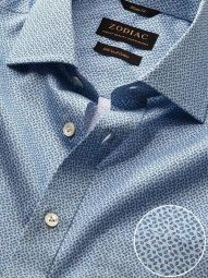 Bassano Turquoise Cotton Tailored Fit Casual Printed Shirt