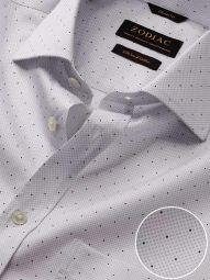 Bassano Light Grey Cotton Classic Fit Formal Printed Shirt