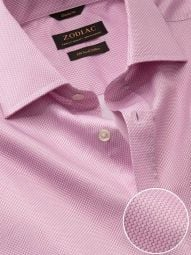 Bassano Pink Cotton Classic Fit Formal Printed Shirt