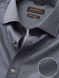 Bassano Dark Grey Cotton Classic Fit Formal Printed Shirt