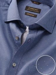 Bassano Navy Cotton Classic Fit Formal Printed Shirt