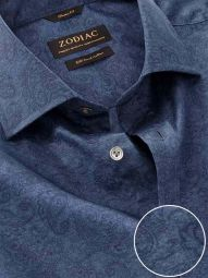 Bassano Navy Cotton Classic Fit Casual Printed Shirt