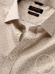 Bassano Sand Cotton Classic Fit Casual Printed Shirt