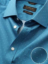 Bassano Blue Cotton Classic Fit Evening Printed Shirt