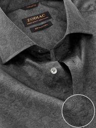 Bassano Dark Grey Cotton Tailored Fit Casual Printed Shirt