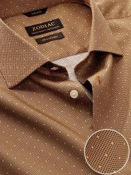 Bassano Ochre Cotton Tailored Fit Evening Printed Shirt