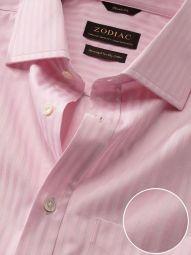 Bertolucci Pink Cotton Classic Fit Formal Striped Shirt