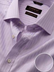 Bertolucci Lilac Cotton Classic Fit Formal Striped Shirt