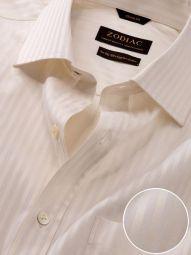 Bertolucci Cream Cotton Classic Fit Formal Striped Shirt