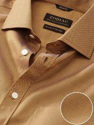 Marzeno Ochre Cotton Classic Fit Casual Solid Shirt