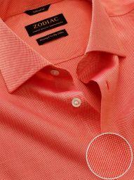 Marzeno Orange Cotton Tailored Fit Casual Solid Shirt