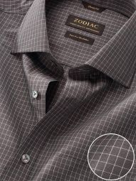 Boscolo Dark Grey Cotton Classic Fit Formal Checks Shirt