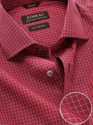 Boscolo Maroon Cotton Classic Fit Formal Checks Shirt